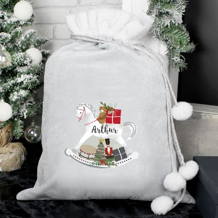 Personalised Grey Rocking Horse Pom Pom Christmas Sack